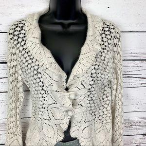 GUINEVERE ANTHROPOLOGIE cream crochet cardigan XL